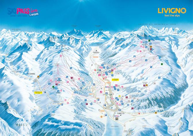 Sciare a Livigno mappa piste