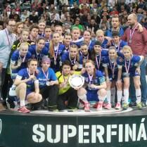 17.4.2017/ Praha/ sport/ Florbal / Superfinale / SC TEMPISH Vitkovice/ HERBADENT FK Jizni mesto/ vitez Herbadent Foto CPA