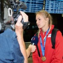 14.7.2018 / Praha / Sport/ atletika / prilet Amalie Svabikove z Tampere ze zlatou medaily ve skoku o tyci. FOTO : CPA