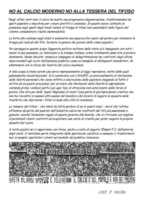 Comunicato Avanzi di Maratona Empoli