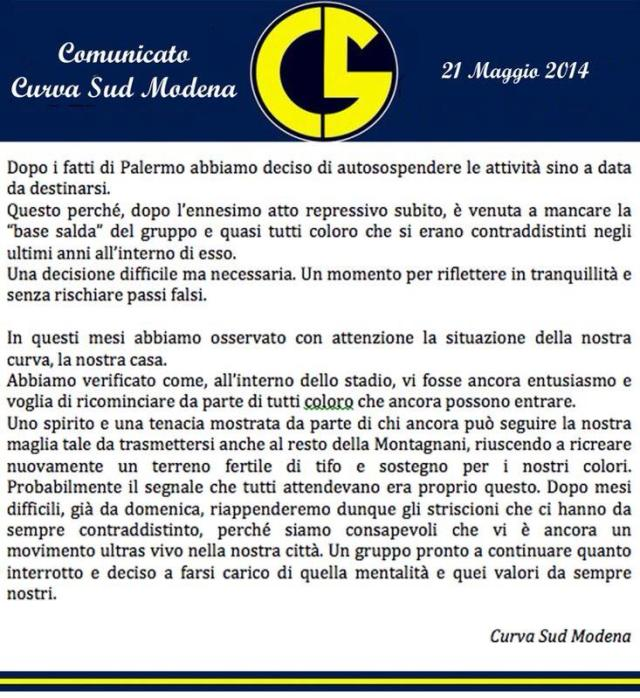 Comunicato Autosospensione Curva Sud Modena
