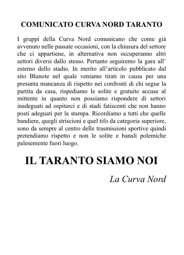 Comunicato CN Taranto