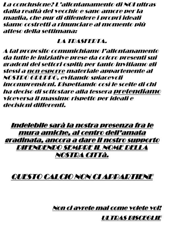 Comunicato ULTRAS BISCEGLIE-2