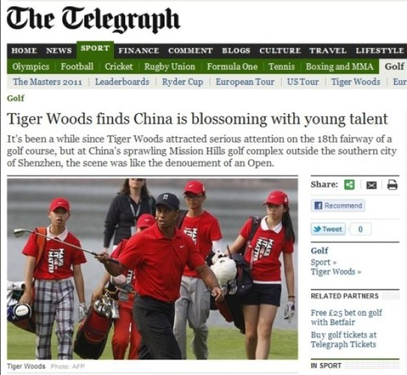 Nicely Executed Double Entendre About Tiger Woods, The Telegraph ...