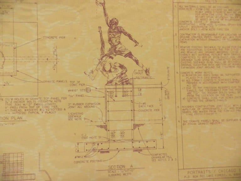 Blueprints for famous michael jordan sculpture for sale on ebay for michael jordan sculpture blueprint 2 malvernweather Choice Image