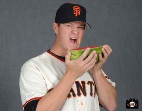 Matt Cain poses for the Jr Giants handbook on Tuesday, February 19, 2013.