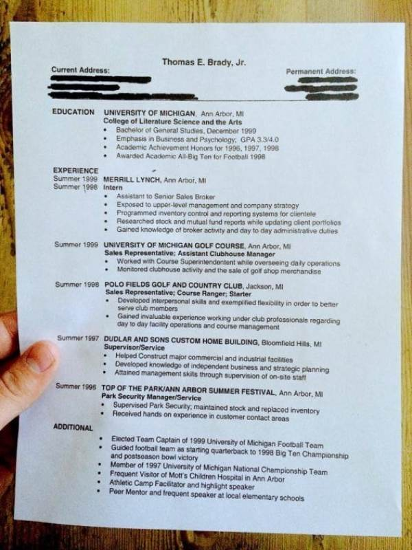 Tom Brady shares his Michigan post-college resumé on Facebook (photo)