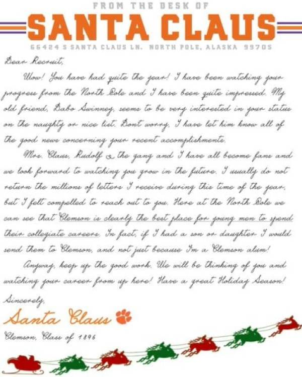 Santa claus apparently a clemson alum sending letters to recruits santa claus clemson alum spiritdancerdesigns Image collections