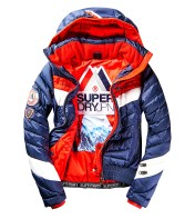 SUPERDRY SNOW - SCUBA CARVE HOODED JACKET - NAVY _ RED -ú174.99