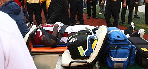 Anquan Boldin on a stretcher