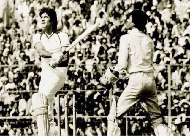 Amitabh Bachchan playing cricket