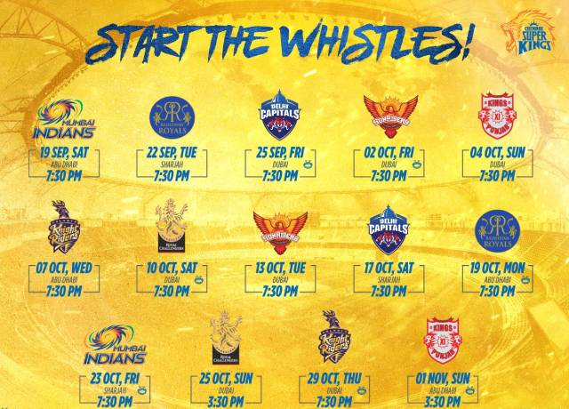 IPL 2020: Chennai super kings (CSK) full schedule & squads