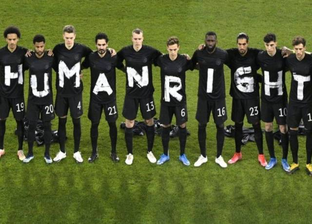 Norway and Germany players protest for the human rights