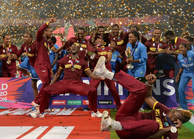 West Indies celebration in 2012 and 2016