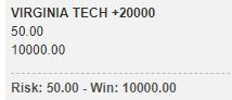 virginia tech championship bet