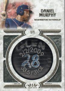 2016 topps tier one Daniel Murphy Bat KNob Card
