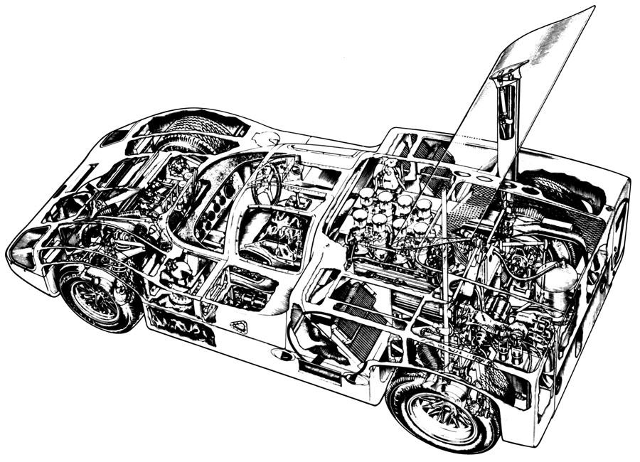 Race Car Cutaway Drawings Porsche gears wheels white