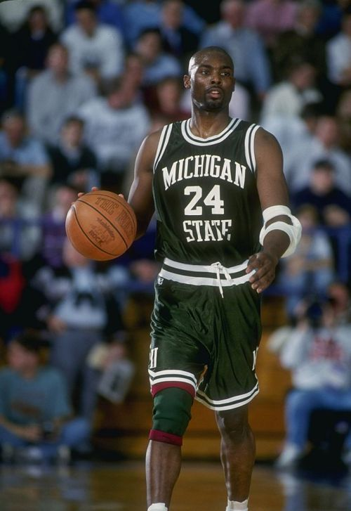 Guard Shawn Respert of the Michigan State Spartans moves the ball during a game against the Northwestern Wildcats.