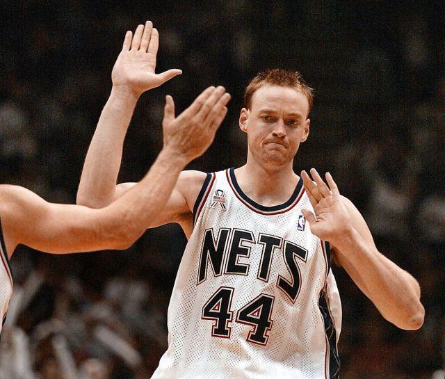 Keith Van Horn celebrates the New Jersey Nets' win over the Boston Celtics.