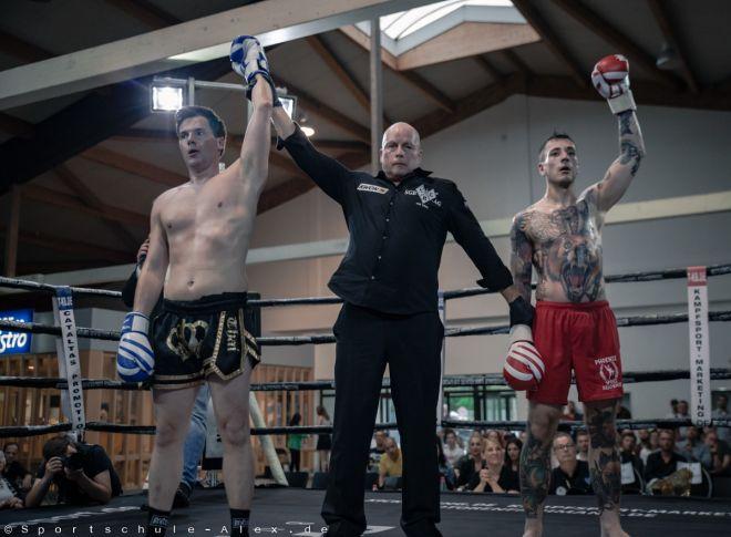 Christian Schleicher von der Sportschule Alex, Sieger im Kickboxen K1 bei der Phönix Fight Night 2017, Gala WKU Foto: Marcela Kamanis