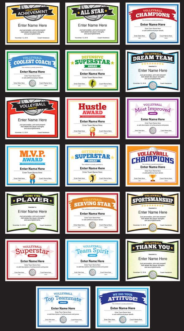 volleyball certificate templates