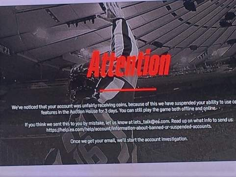 NHL 18 in game screenshot announcing temporary suspension after 7 million HUT coins issue