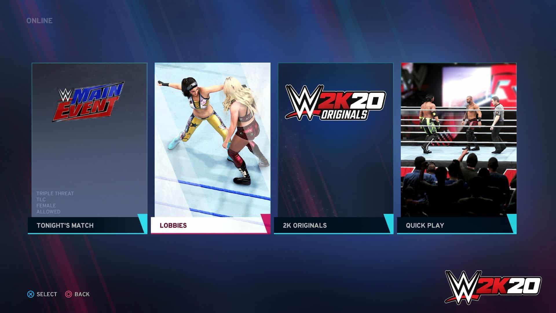 WWE 2K20 lobbies