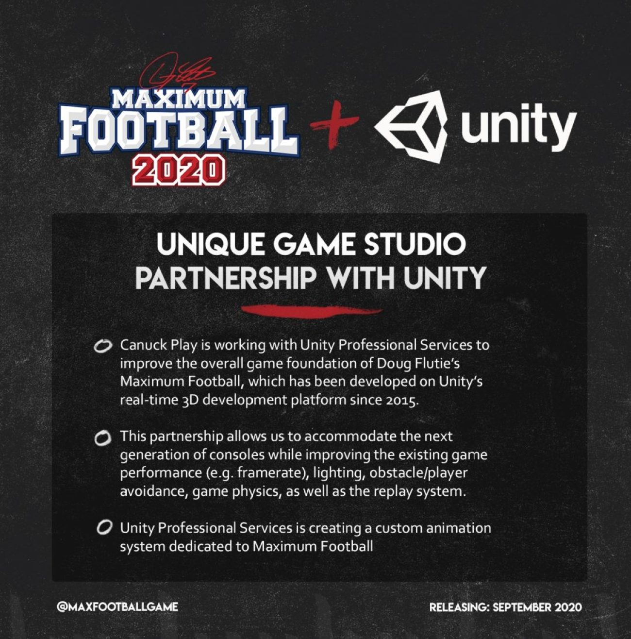 Doug Flutie's Maximum Football 2020 Unity Partnership