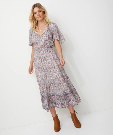 SHORT SLV BOHO MIDI DRESS