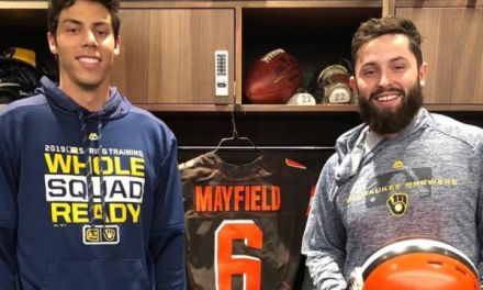 Baker Mayfield Took Batting Practice with the Brewers and Hit a Woman with a Foul Ball