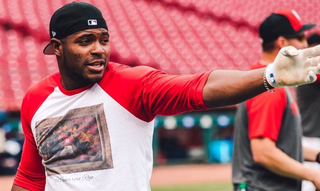 Yasiel Puig Wore a Shirt with the Pirates and Reds Brawl on It