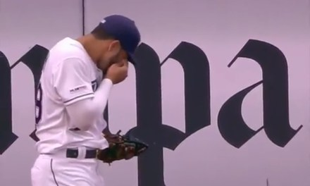Tommy Pham Lost a Contact Making a Catch in Leftfield