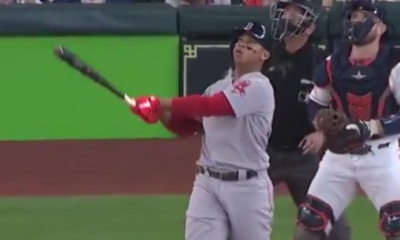 Rafael Devers Had a No Doubter of a Home Run Turn into a Double after the Ball Hit the Roof