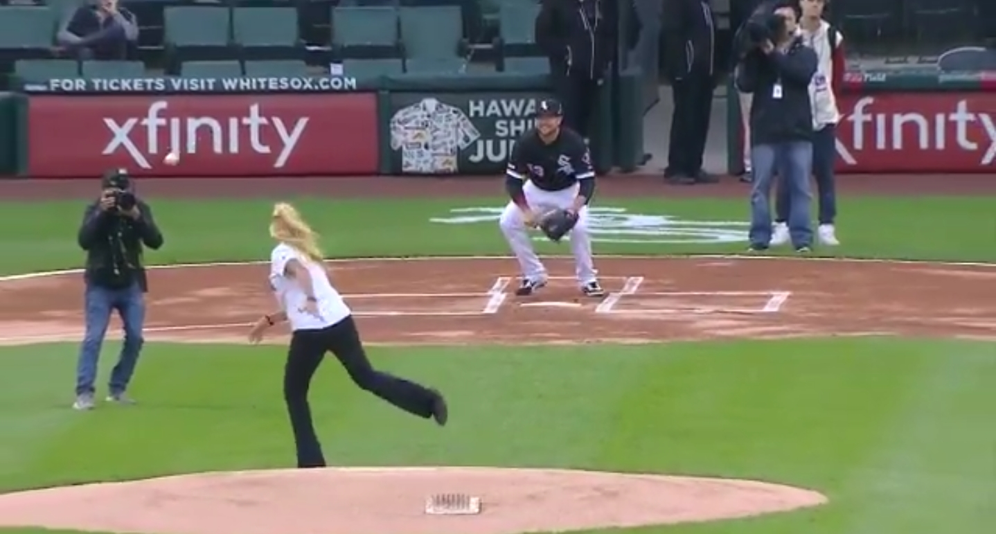 White Sox Employee of the Month Throws Out First Pitch and Drills a Cameraman