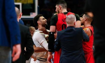 A Fight Broke Out Between a Blazers Couple and Nuggets Couple at The Blazers Nuggets Game