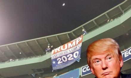 Watch Red Sox Fans Tear Down 'Trump 2020' Banner