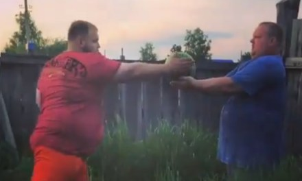 Russian Slapping Champion Tries His Slap Game Out on a Watermelon