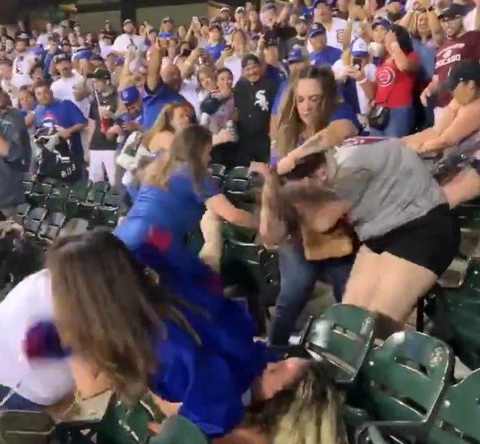 A Massive Female Brawl Erupted During the Cubs Sox Game