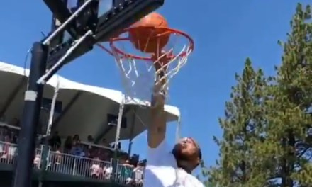 Stephen Curry Repeatedly Got Rejected by the Rim Trying to Dunk a Basketball