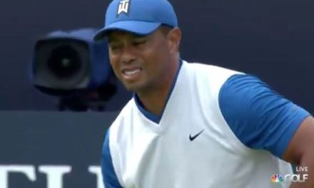 Tiger Woods Grimaced After First Tee Shot at the British Open