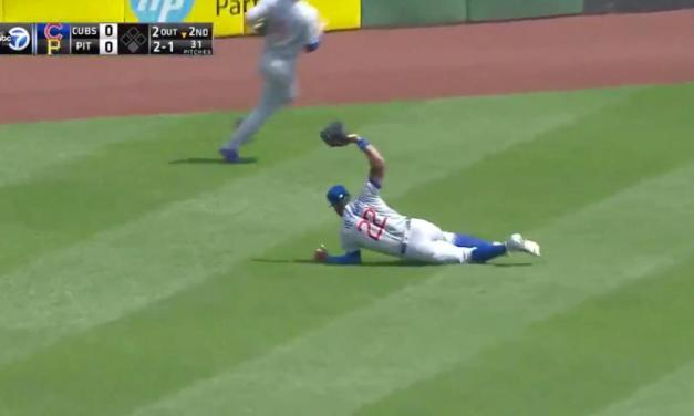 Jason Heyward Gets Full Extension on a Diving Catch to Rob a Hit