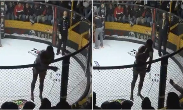 MMA Fighter Chugs Beer from Crowd in Between Rounds
