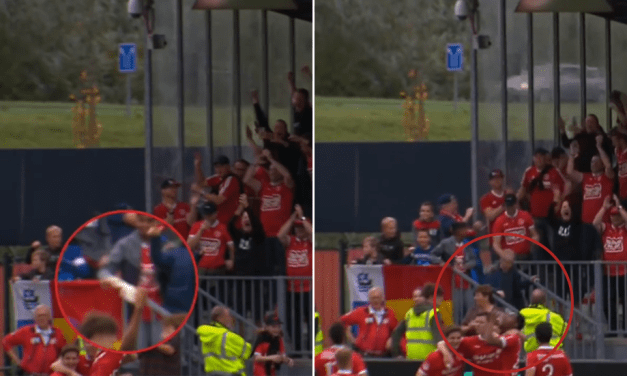 Soccer Player Catches, Then Drinks, Flying Beer Thrown by Fan During Goal Celebration