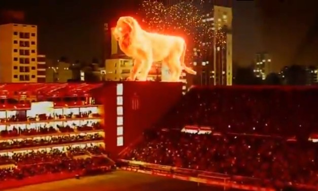 Soccer Team Uses Jaw Dropping Giant Holographic Lion to Mark Return to Stadium