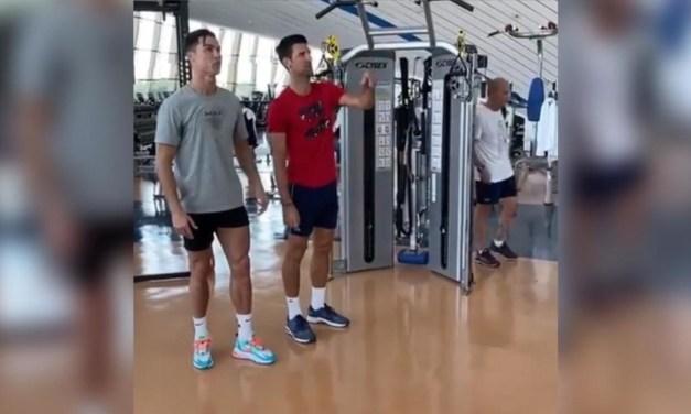 Cristiano Ronaldo Gives Novak Djokovic 'Jumping Masterclass'