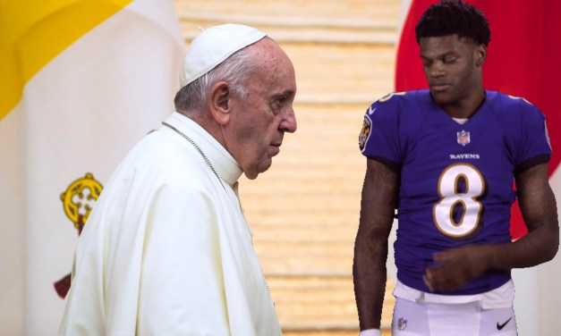 Pope Gifted Ravens Jersey Signed by Lamar Jackson