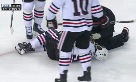 Blackhawks Player Injured By A Brad Marchand Clothesline