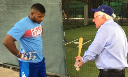 Bernie Sanders Visited Dodgers Spring Training and Gave Yasiel Puig Some Hitting Tips