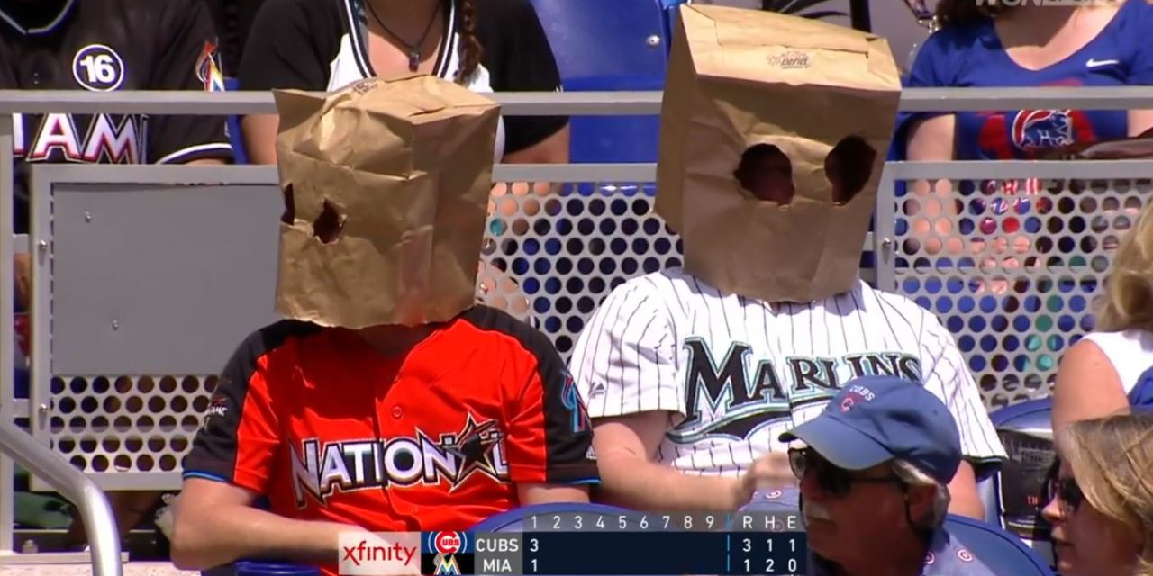 Marlins Fans Showed up to Opening Day with Bags on their Heads