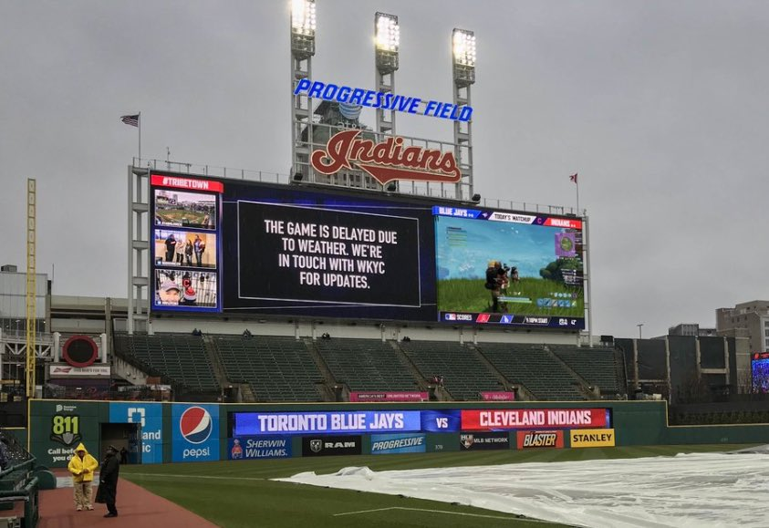Saturday's Blue Jays-Indians Postponed Game turned into a Fortnite Game on the Scoreboard